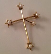 Fine MIKIMOTO 14k Gold & Cultured Pearl Australian Southern Cross Brooch
