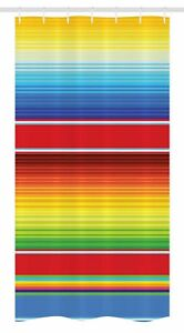 Image Is Loading Rainbow Stall Shower Curtain Mexican Ethnic Pattern Print