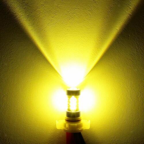 2X H3 80W High Power LED DRL Fog Light Lamp 6000K Gold Yellow Driving Bulbs