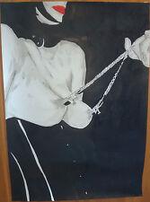"""Dessin encre de chine erotique nu féminin fine art """"Tirée"""" A4  G.Vanspey"""
