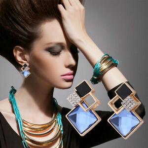 Hot-Womens-Blue-Statement-Silver-Plated-Crystal-Big-Dangle-Drop-Earrings-new
