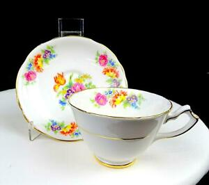 GLADSTONE-CHINA-ENGLAND-5716-FLORAL-SPRAYS-SCALLOPED-GOLD-RIM-2-034-CUP-amp-SAUCER