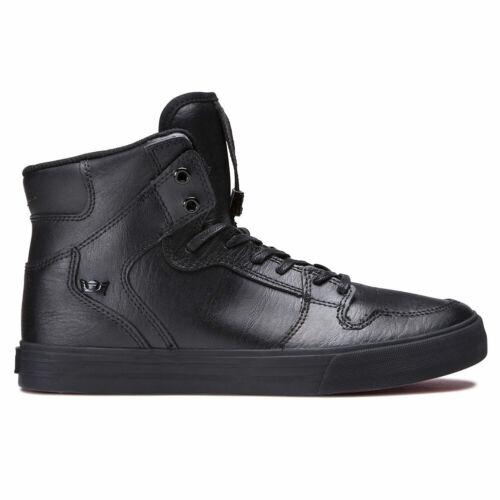 Supra Men/'s Vaider Hi Top Sneaker Shoes Black Black Red Footwear Skate Casual