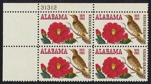 #1375 6c Alabama Statehood, Placa Bloque [31312 Ul ] Nuevo Cualquier 4=