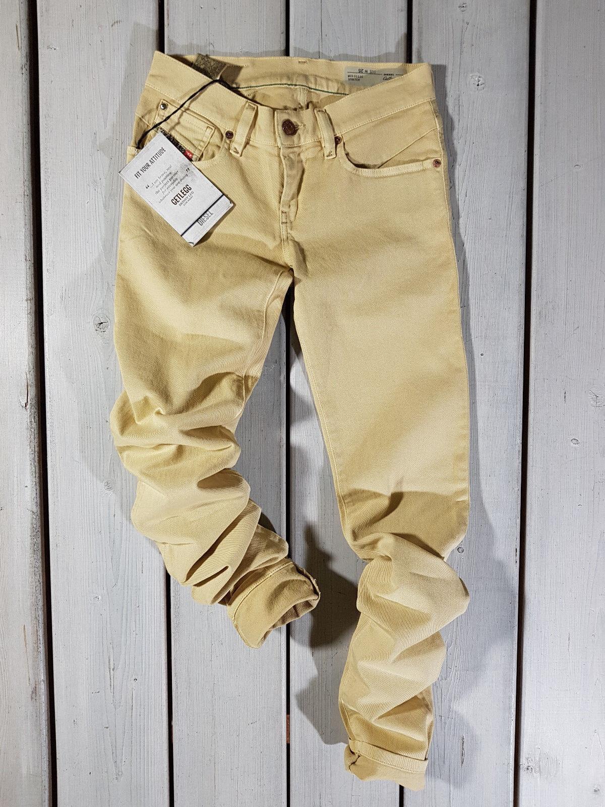 Neu Diesel DAMEN Jeans W25 Getlegg 0111c Enganliegend Niedrige Größe Gelb