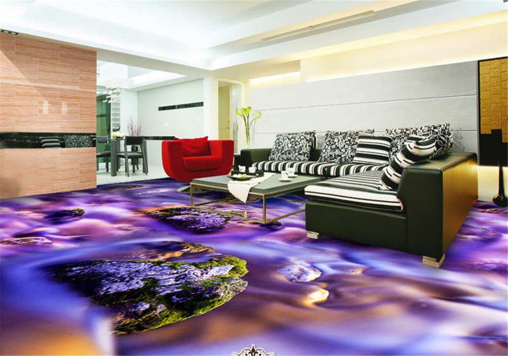 Große Moosige Steine 3D Fußboden Wandgemälde Foto Bodenbelag Tapete Zuhause Deko