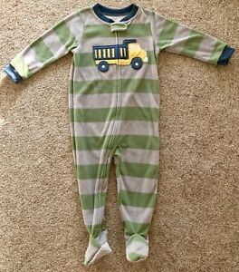 Carters Boys 1-Piece Zippered Gripper Footie Fleece Pajamas Camoflauge Dinosaurs Size 14