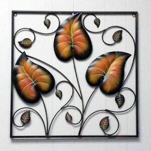 3-Leaf-Frame-Vine-Plant-Wrought-Iron-Wall-Decoration-Metal-Art