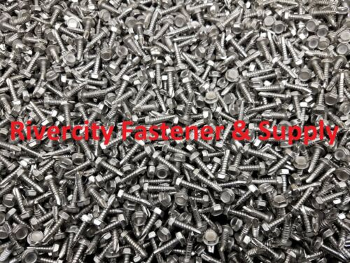 25 Hex Washer Head #10x3//4 Self Drilling Tek Screw #2 point Stainless Steel