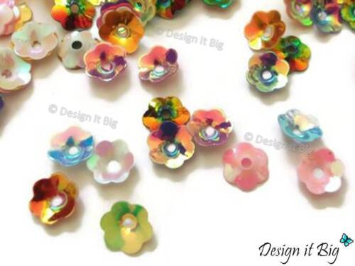 8mm 20g Flower Cupped Sequins Multi-Coloured Cup Metallic Rainbow Style 6mm