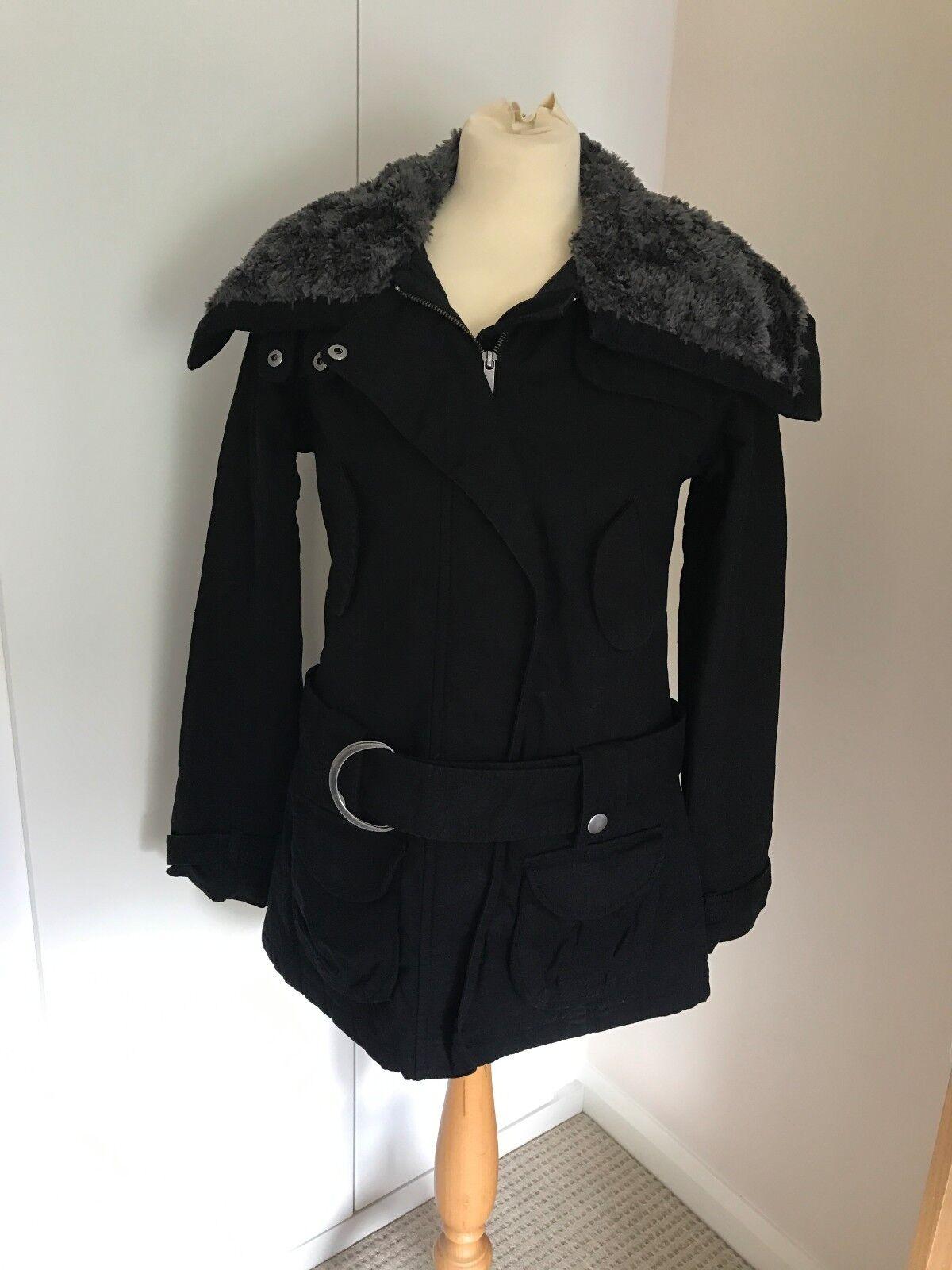 Manteau d hiver coupe ajustée femme Black Femme Moto par Topshop