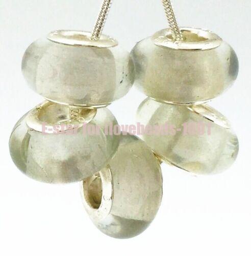 5PCS Silver Murano Lampwork Glass Beads fit European Charm Bracelet IL118