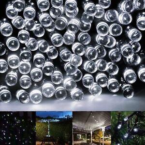 Nouveau 200 Del Blanc Ficelle à énergie Solaire Lumière Jardin Noël Xmas Party-afficher Le Titre D'origine
