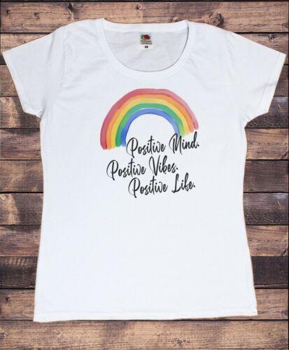 Women/'s Top Positive Mind Vie Arc-en-Good Vibes Slogan Print TS1882 vibes