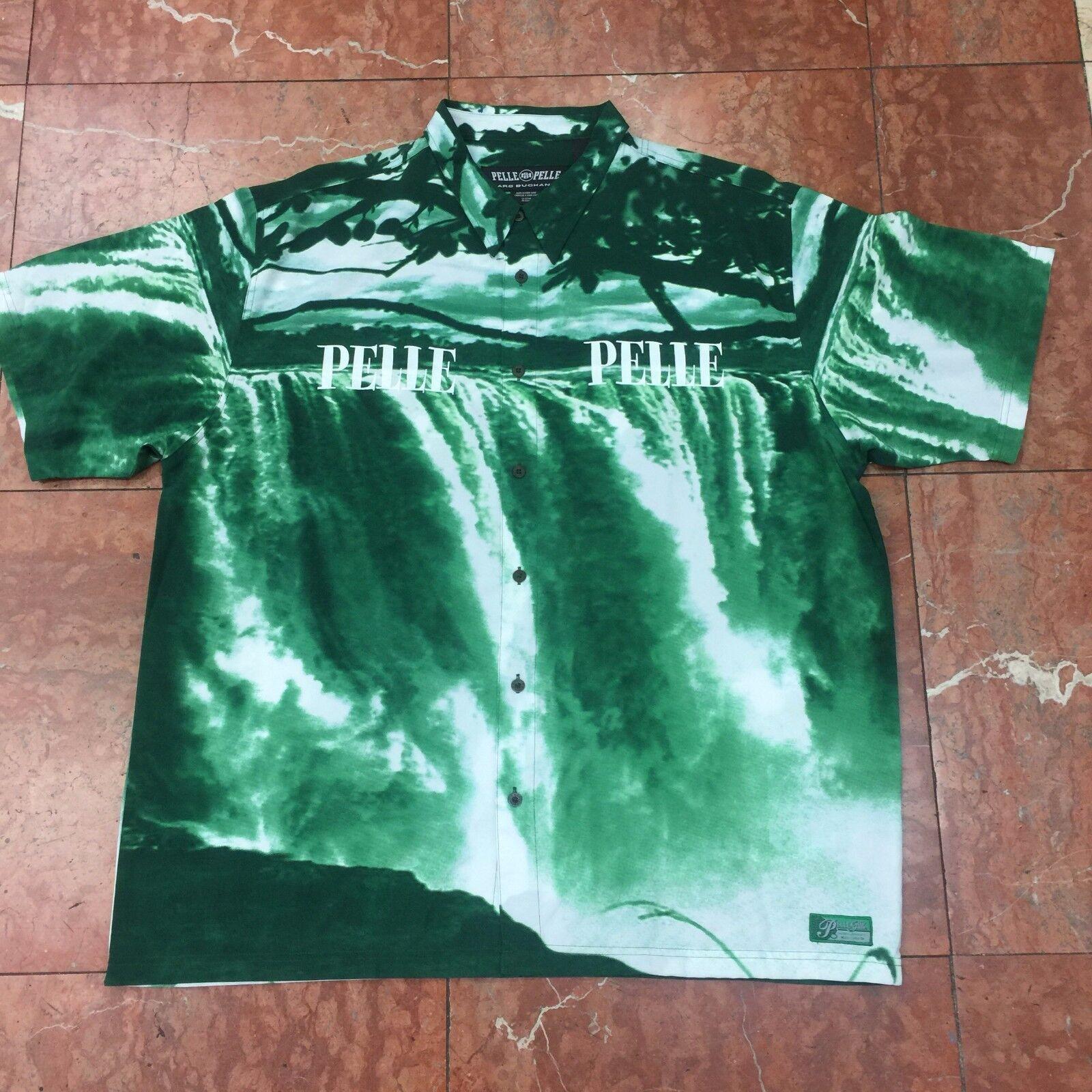 Men's Pelle Pelle Forest Green Waterfall Short Sleeve Button Down Shirt