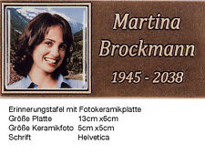 Grabschrift/Buchstaben/Bronze/Grablampe/Keramikfoto/Schrifttafel/Erinnerungstafe