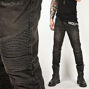 New Mens Fashion Cool Tough-Chic Designer Washed Black Skinny ...