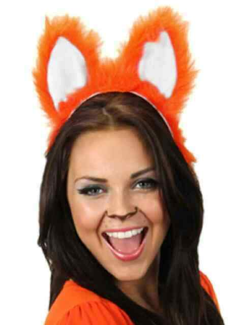 Moveable Voice Activated Fox Ears Battery Powered Tail Costume Accessory Orange