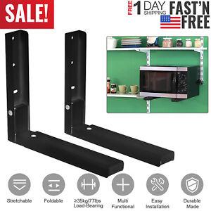 2x-Microwave-Oven-Brackets-Adjustable-Wall-Mount-Shelf-Carbon-Steel-Cradle-US