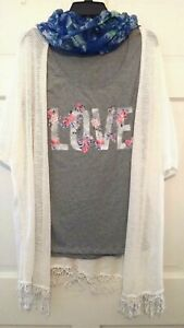 Womens-Top-Jacket-Scarf-New-Directions-Weekend-3-Pc-Set-Ivory-Gray-NWT-S-M-L-XL