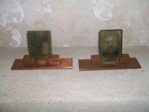 deux anciens supports pour photo d'identité en cuivre et laiton