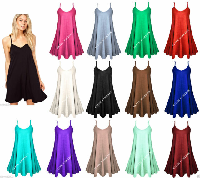 Womens  Sleeveless Hanky Hem Flared Cami Swing Dress Long Vest Top Plus Size