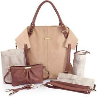 Timi & Leslie Charlie Faux Leather 7 Piece Baby Diaper Bag Sand/cinnamon