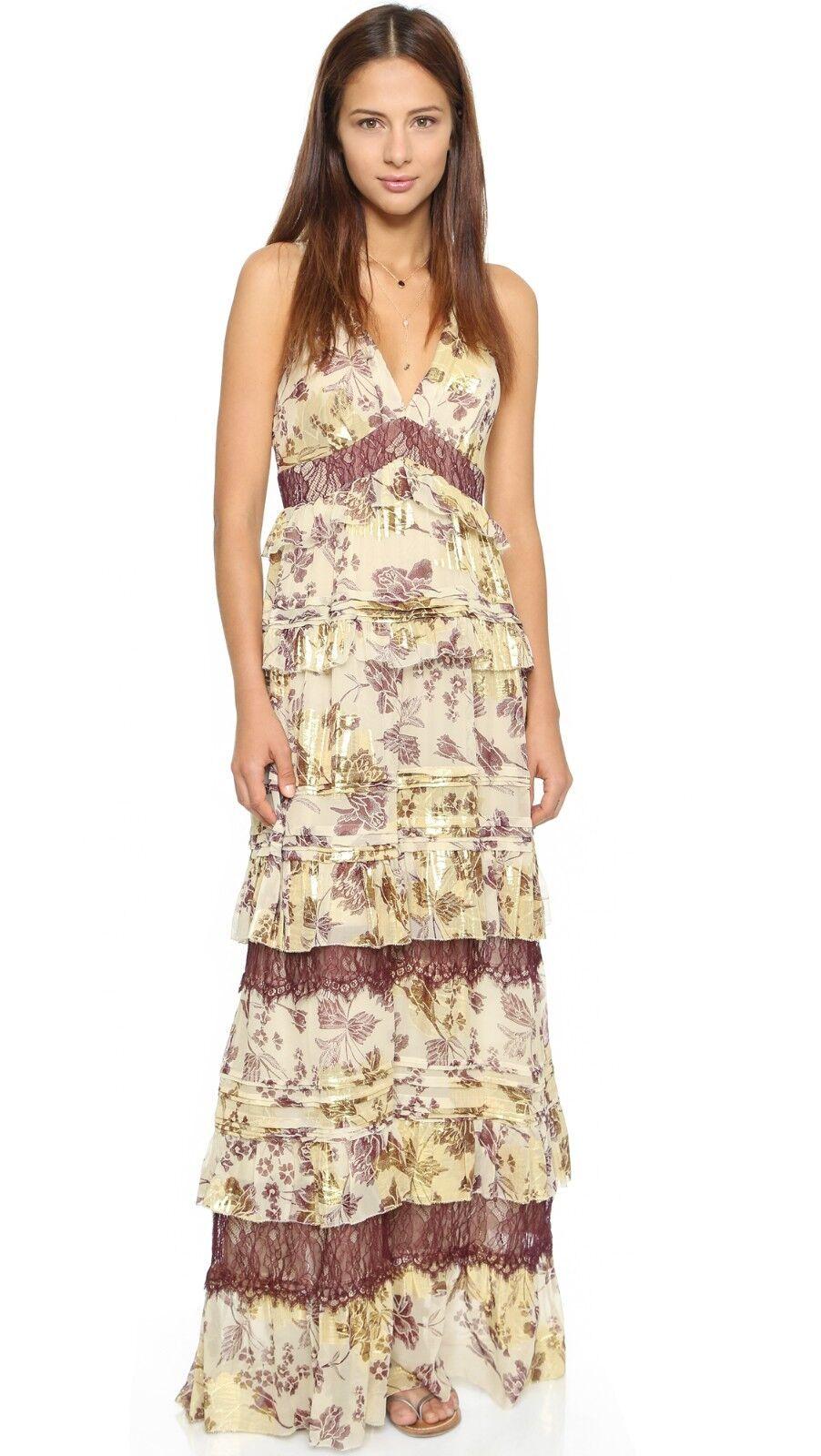NWT DVF Diane von Furstenberg Karen Ruffled Silk Lace-Detail Gown Dress sz 8