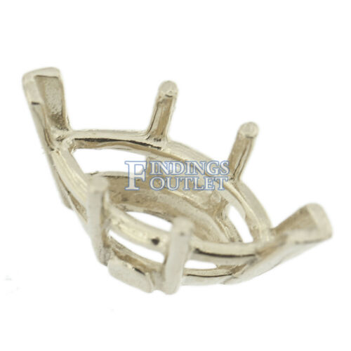 14K White Gold Marquise Wire Basket Setting Mounting 6 Prong V-Ends 0.25-8.00ct