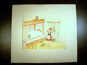 01242f2cd Image is loading Little-Red-Riding-Hood-1950-Original-Watercolor-Sketch-