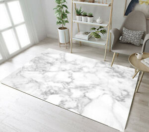 Details about Floor Rug Mat White & Grey Marble Design Bedroom Carpet  Living Room Area Rugs