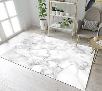 Floor Rug Mat White Grey Marble