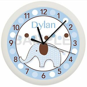 Image Is Loading Elephant Nursery Wall Clock Personalized Gift Blue And