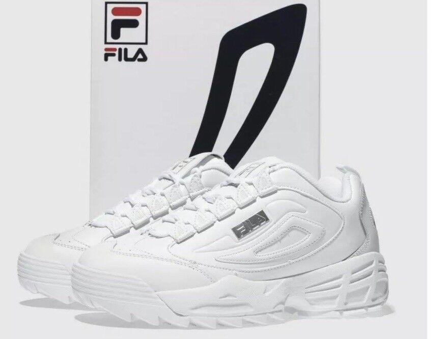 Fila Blanc & Argent disrupteur 3 Premium Baskets Taille UK 8