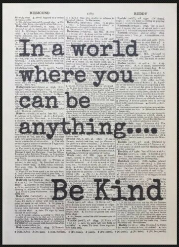 Be Kind Quote Vintage Dictionary Page Print Picture Wall Art Love Inspirational