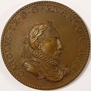 France-médaille De Bronze Du Roi Charles Ix-afficher Le Titre D'origine Une Performance SupéRieure