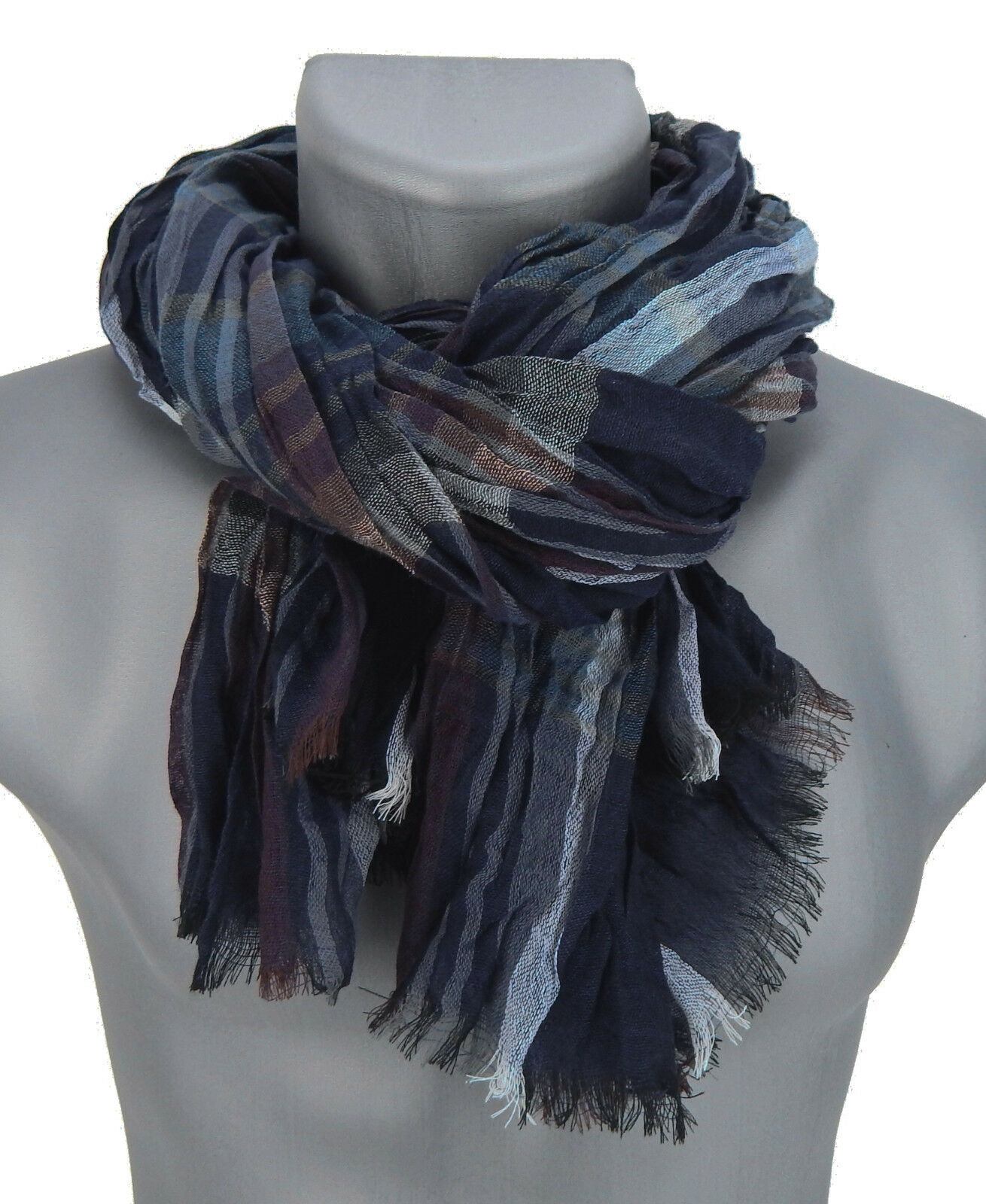 Men/'s Scarf Teal Brown White by Ella Jonte Scarf 100/% Viscose New Arrival Scarf