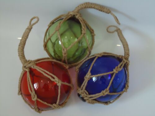 Buoys Balls 3 Glass Fishing Boat Net Floats Green Red Blue Bathroom 135 mm