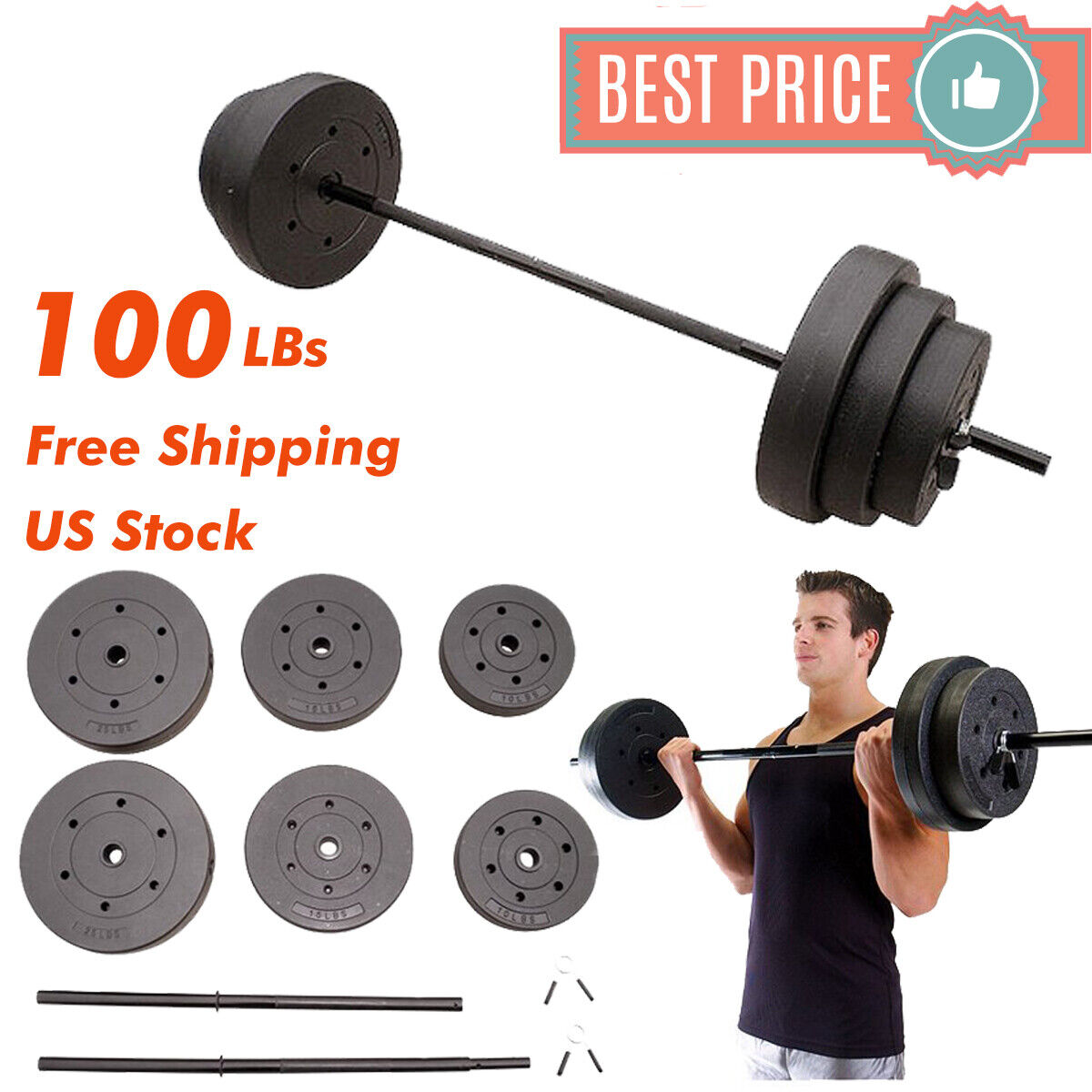 100 LBs Pound Lifting WEIGHT SET Plates With Bar Home  Gym Standard Vinyl Workout  take up to 70% off