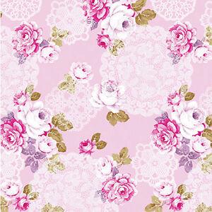 Cotton-100-Satin-weave-Fabric-Bedding-Clothworks-Antique-Rose-Floral-Pink-44-034-w