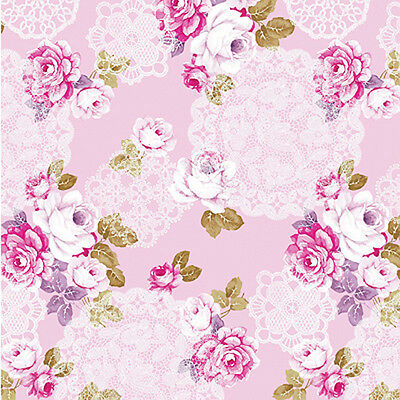 "GLOSSY SATIN COTTON FABRIC BEDDING COVERING CLOTHES SHABBY ROSE FLORAL PINK 44""W"