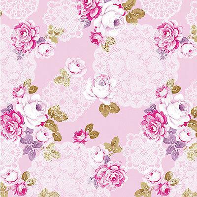 "Cotton 100% Satin weave Fabric Bedding Clothworks Antique Rose Floral Pink 44""w"