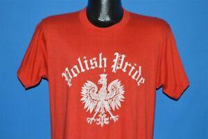 vintage-80s-POLISH-PRIDE-RED-WHITE-EAGLE-LOGO-FLAG-SOFT-t-shirt-MEDIUM-M