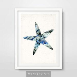 Image Is Loading Seaside Blue Starfish Art Print Poster Home Decor
