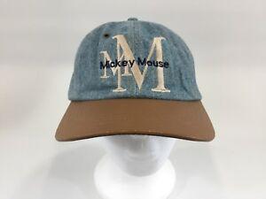 Vintage Mickey Mouse Strap Back Denim Hat Cap 90s jean hat Disney ... f5cc0d4547e