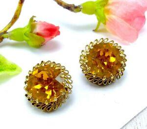 Vintage-Oro-Tono-De-Metal-Y-Vidrio-Amarillo-Naranja-Dorado-Pendientes-de-Clip-en