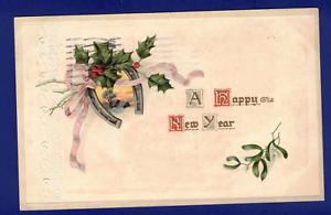 ANTIQUE-NEW-YEAR-POSTCARD-HORSESHOE-HOLLY-ST-LOUIS-MISSOURI-1915