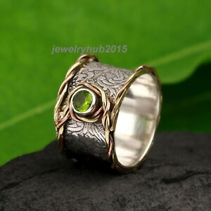 Peridot-Solid-925-Sterling-Silver-Band-Ring-Meditation-Ring-statement-Ring-152