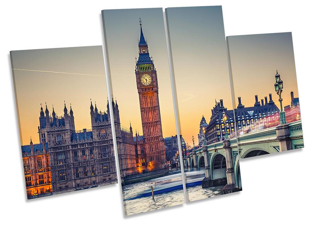 Big Ben London Cityscape Framed CANVAS PRINT Four Panel Wall Art