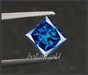 Diamant-Prinzess-Schliff-Farbe-blau-von-0-25-0-50ct-100-echt-mit-Zertifikat